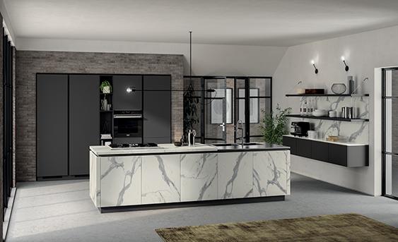 Кухня Сиена в стиле лофт с отделкой под мрамор