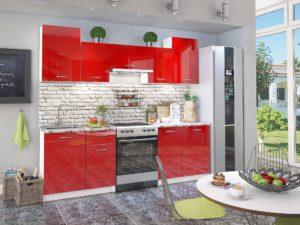 Кухня Сиена красная с глянцевыми фасадами