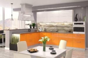 Кухня Сиена с австрийской фурнитурой Blum / оранжевая