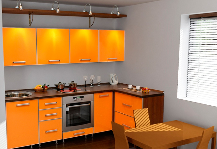 Кухня Сиена с фасадом Cleaf / оранжевая