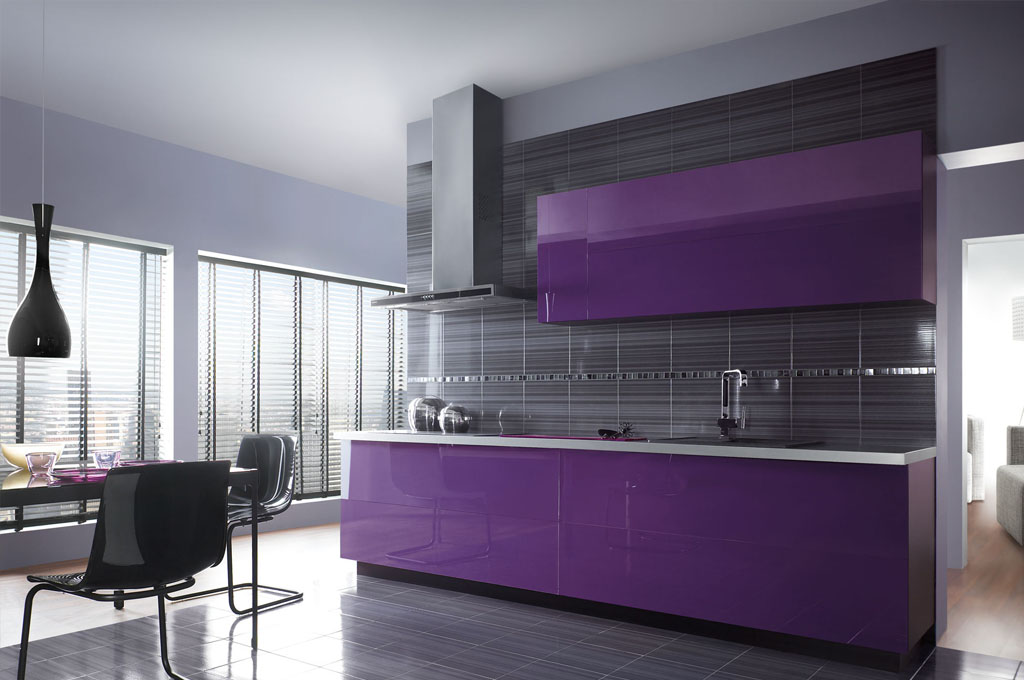 Кухня Сиена в стиле лофт / фиолетовая