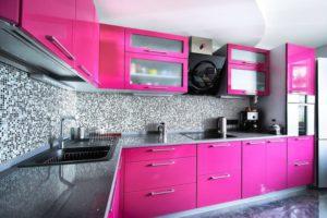 Кухня Сиена 3D акрил / розовая