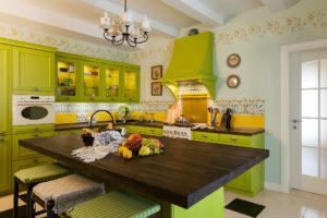 Кухня Сиена с островом / зеленая