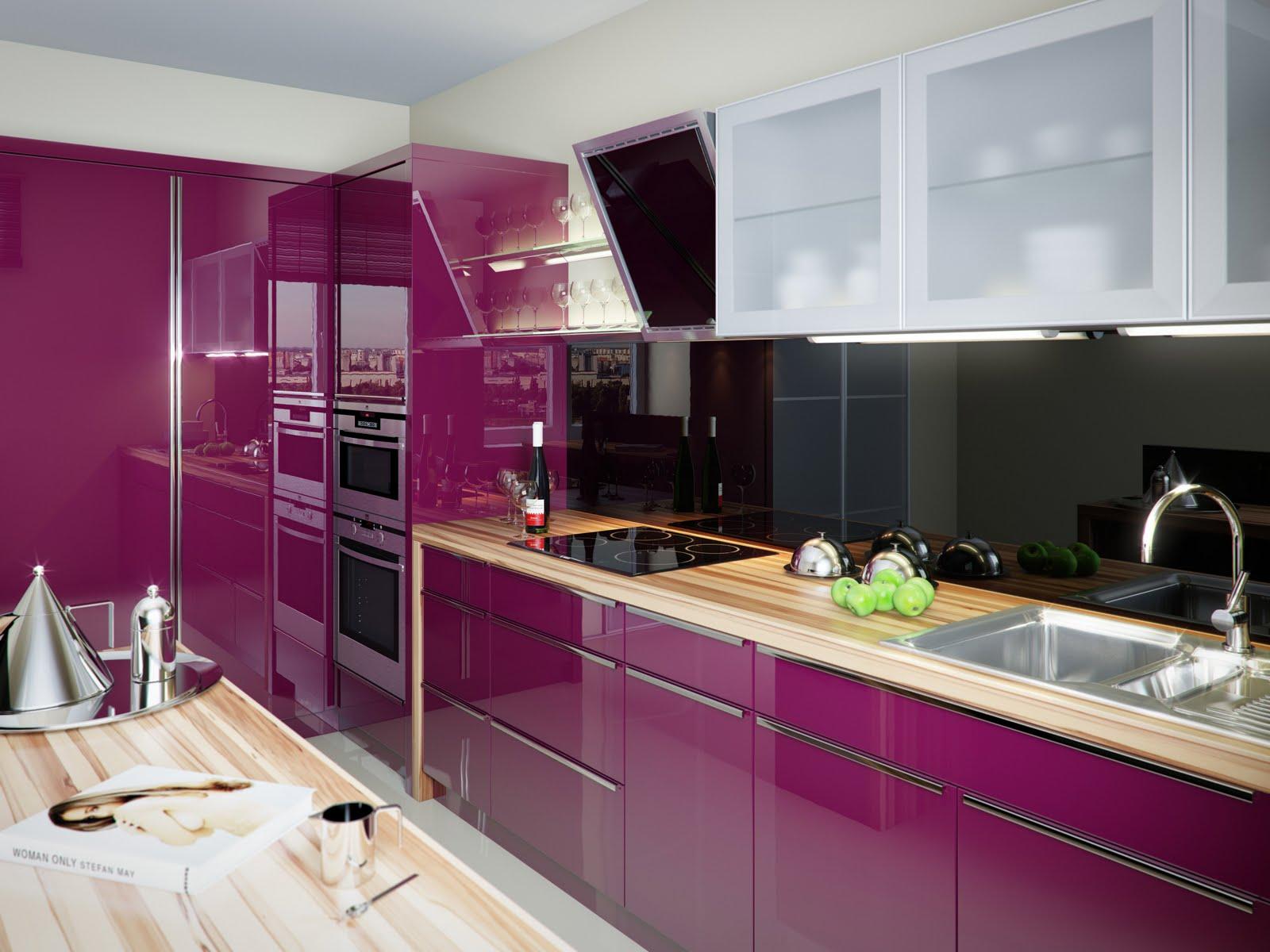 Кухня Сиена с фурнитурой Boyard / фиолетовая