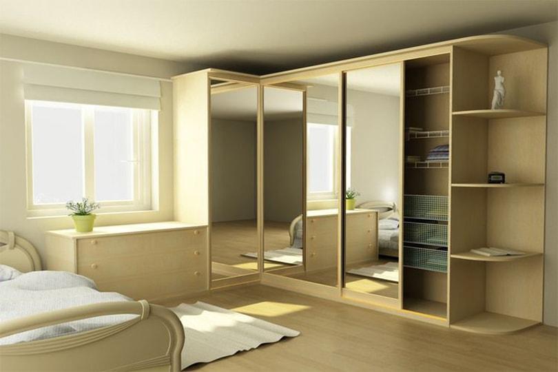 4-х дверный угловой шкаф-купе с зеркалом