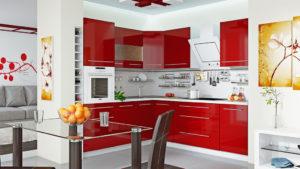 Кухня Сиена с фасадом Fundermax/ красная