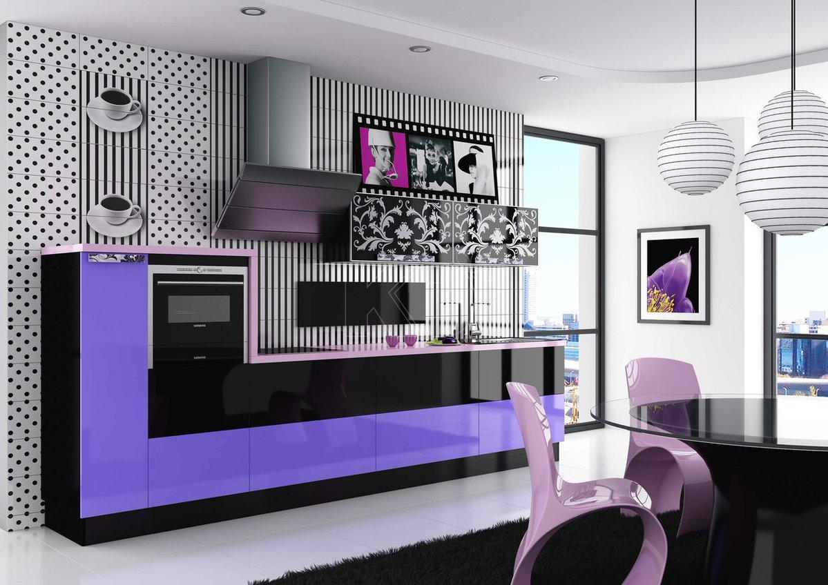 Кухня Сиена с австрийской фурнитурой Blum / фиолетовая