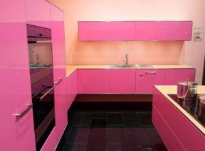 Кухня Сиена с глянцевой отделкой и 3D акрил / розовая