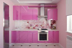 Кухня Сиена с фасадом Сидак / розовая