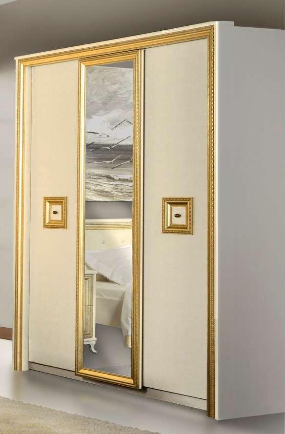 Прямой шкаф-купе бело-золотого цвета