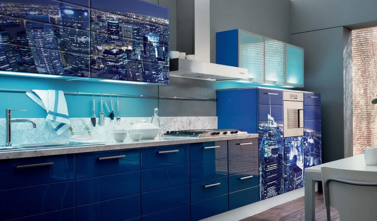 Кухня Сиена с фотопечатью / синяя