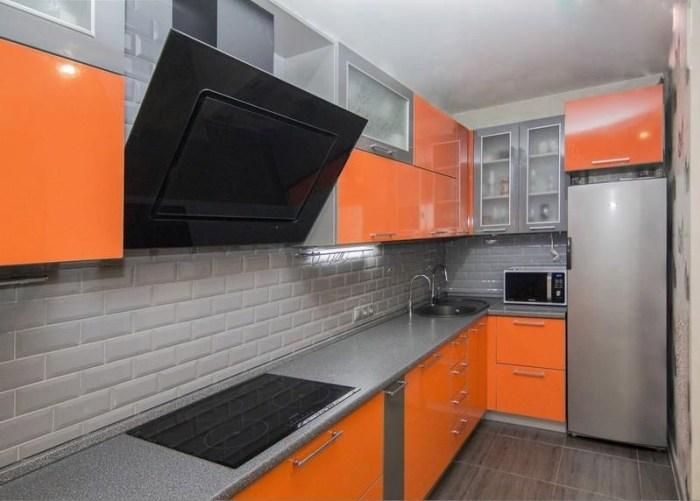Кухня Сиена с глянцевой отделкой / оранжевая