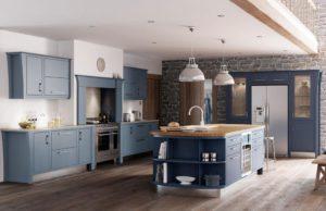 Кухня Модена с островом / голубая