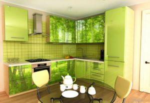 Кухня Сиена с фотопечатью / зеленая