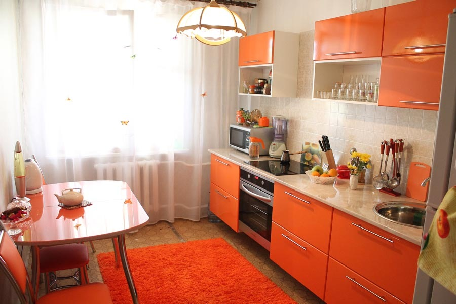 Кухня Сиена 3D акрил / оранжевая