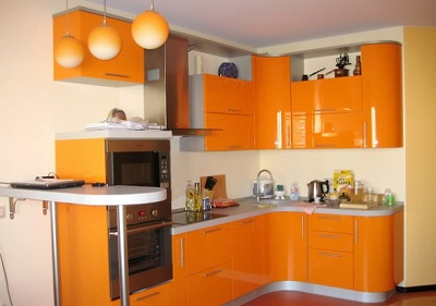 Кухня Сиена с фасадом Сидак / оранжевая