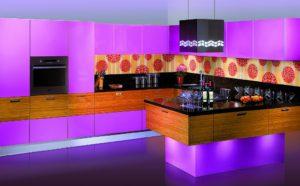 Кухня Сиена 3D акрил / фиолетовая