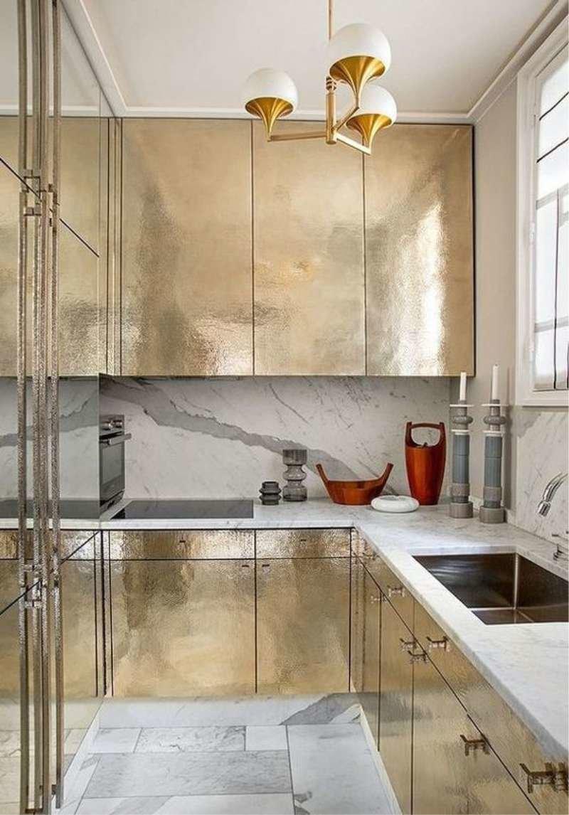 Кухня Сиена 3D акрил / золотая