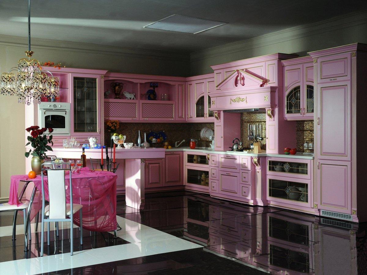Кухня Сиена из МДФ / розовая