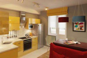 Кухня Сиена в стиле минимализм / желтая