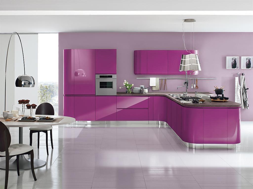 Кухня Сиена в стиле хай-тек / фиолетовая