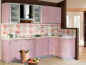 Кухня Сиена с фасадом Cleaf / розовая